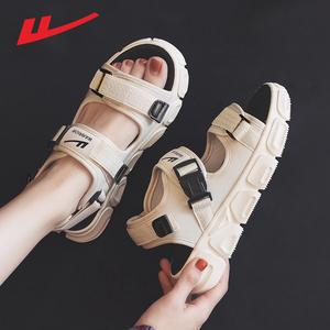 回力凉鞋女2021年新款夏季鞋子女平底外穿百搭运动时装沙滩鞋女鞋