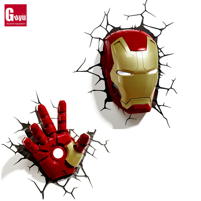 Marvel genuine imported Avenger alliance US team steel man Hulk spider man 3D creative wall lamp Nightlight