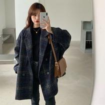 大码女装秋冬胖mm韩版宽松中长款毛呢格子西装外套呢子大衣200斤