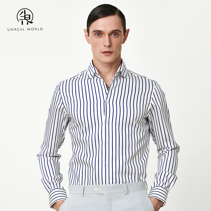 Mens long sleeve fashion casual easy wear Slim Fit Shirt with white background and dark blue stripe shirt