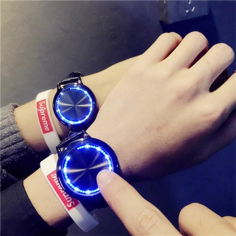 网红手表男抖音黑科技概念高科技智能led触屏学霸情侣夜光电子。