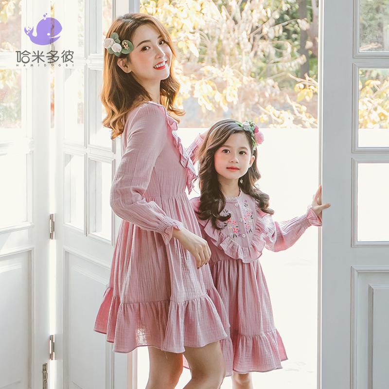 2020新款女儿童早春装连衣裙子女孩长袖中大童荷叶公主裙韩版洋气