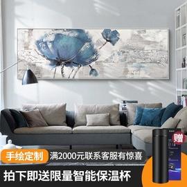 纯手绘油画客厅古典装饰画沙发背景墙挂画大幅横版新中式卧室壁画图片
