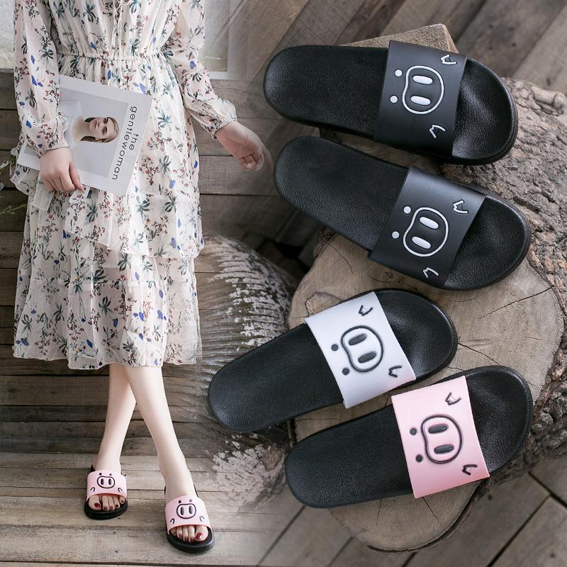 黑觅夏季凉拖鞋女士时尚一字拖鞋女韩版室外穿防滑厚底海边沙滩鞋