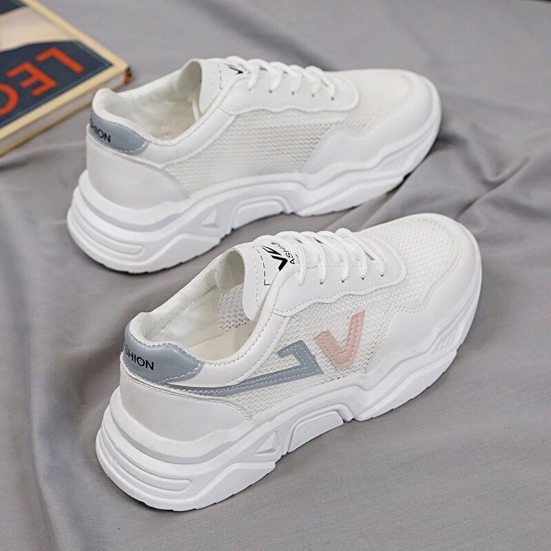 小白鞋网面透气老爹鞋女2021夏季新款厚底增高休闲显瘦运动网鞋女