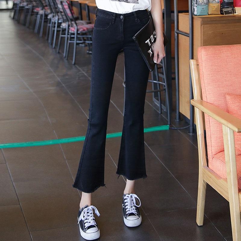 韩国黑色微喇叭牛仔裤女2020春装新款韩版宽松高腰显瘦阔腿八分裤