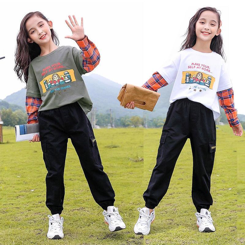 网红女童春季套装2021洋气新款中大童时髦儿童女孩休闲长裤两件套