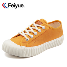 Feiyue Women's Shoes Fall 2019 Biscuit Shoes Green Caragana Green Korean Edition Small White Shoes Student Thick-soled Turmeric Canvas Shoes Tide Shoes