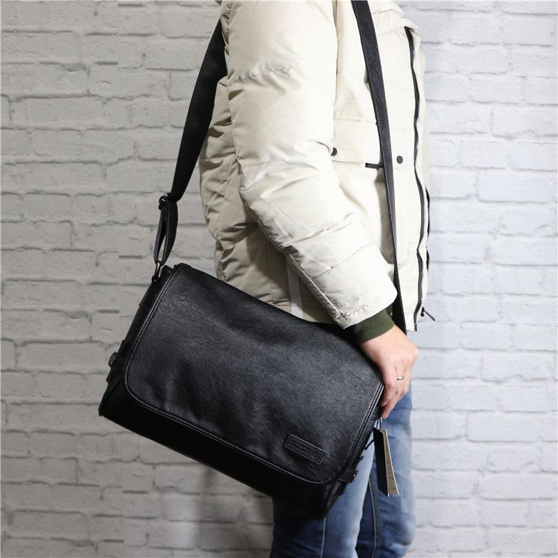 Japanese soft leather mens large capacity cross body backpack magazine bag retro computer shoulder bag horizontal postman bag