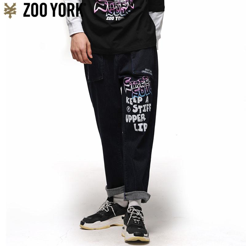 ZOO YORK男士休闲松身蓝色牛仔长裤 ZW19WN104M