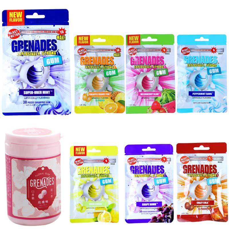 American Grenache super Mint chewing gum 10 explosive beads blast cool lift grenades