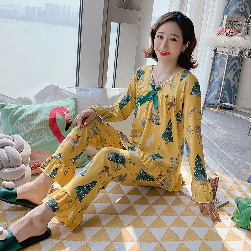 秋季新款长袖睡衣女可爱学生薄款两件套家居服卡通韩版甜美套装