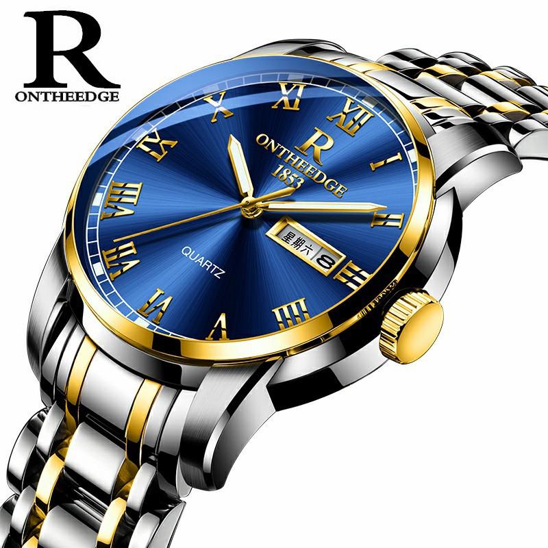 瑞之缘爆款精钢壳钢带钢表圆形正品石英表三针商务手表