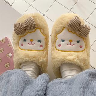 冬季学生宿舍可爱少女心保暖半包跟棉拖鞋软底防滑踩屎感毛绒鞋女
