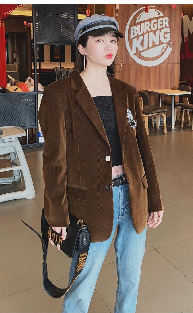 PINKPIGGY灯芯绒西装宽肩外套女棕色西服宽松潮时尚chic女装条绒
