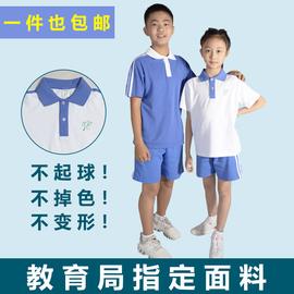 深圳市小学生男女夏季运动服统一校服全棉短袖套装上衣短裤T恤