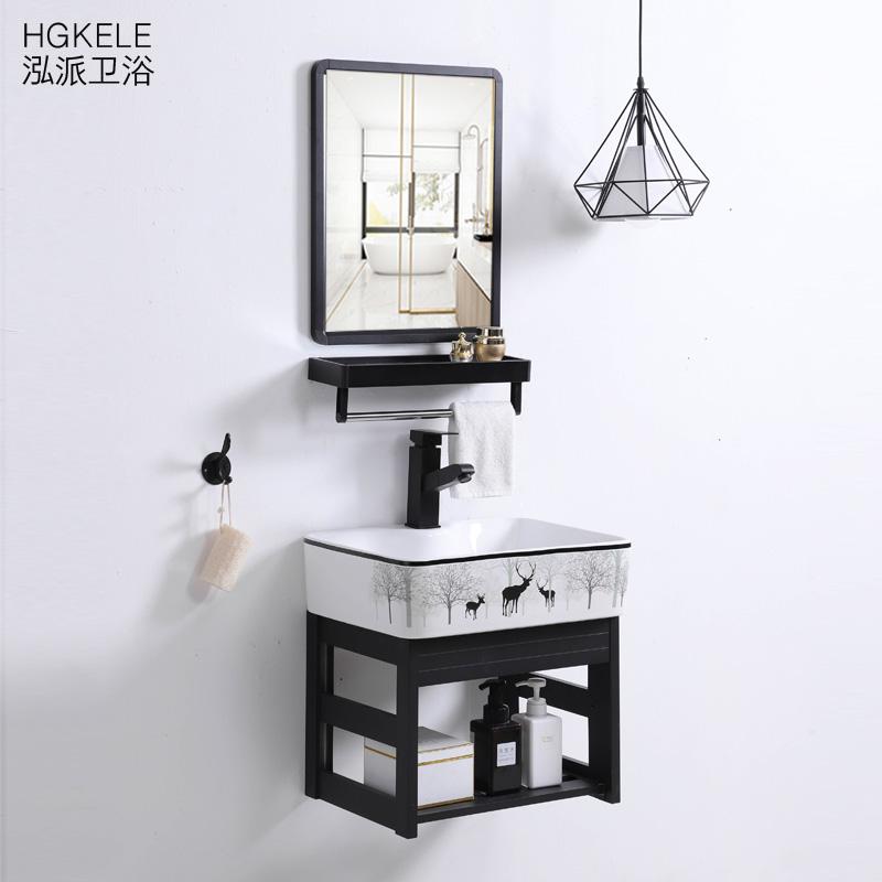 (用5元券)挂墙式洗手盆柜组合小户型卫生间洗脸面盆家用简易阳台挂盆带支架