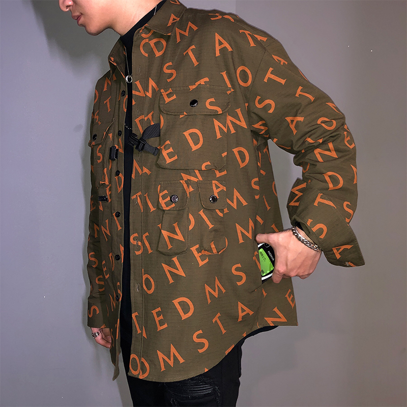 EDM fashion brand tooling coat fashion men 2020 new letter printing autumn and winter shirt and functional jacket