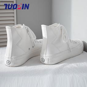 鮀品耶啵高帮女鞋子2020新款帆布鞋