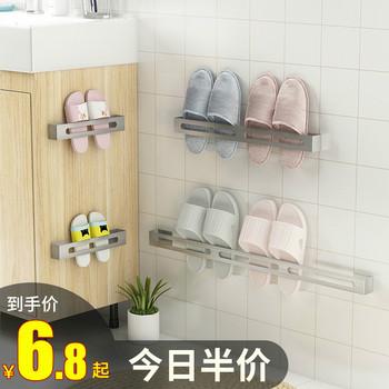 拖鞋架墙壁挂式免钉厕所放门后收纳