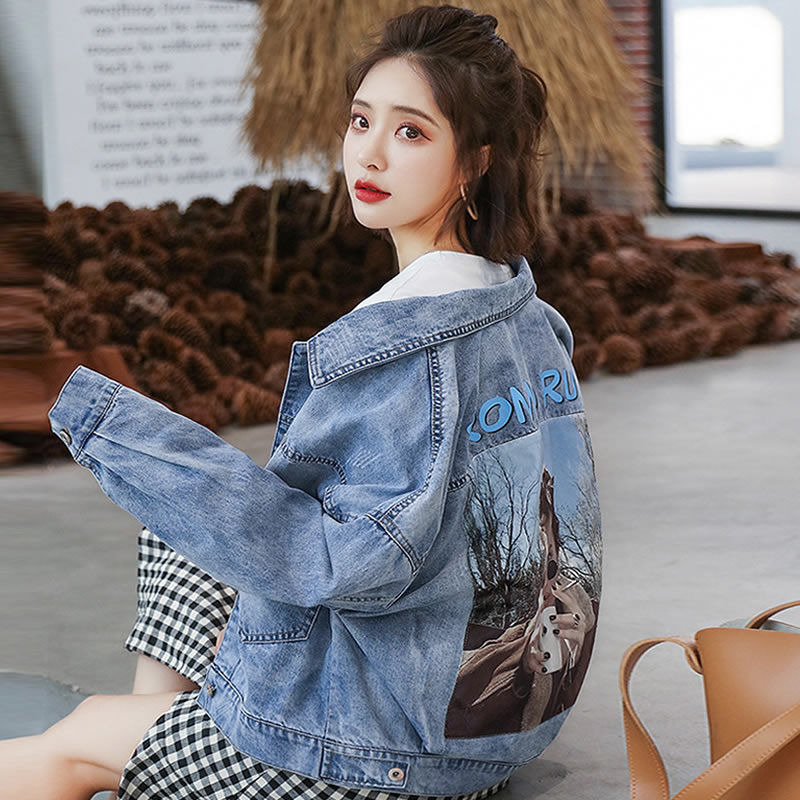 Denim Jacket Womens short style fall 2019 new loose Korean version looks thin and versatile BF early autumn coat womens ins trend