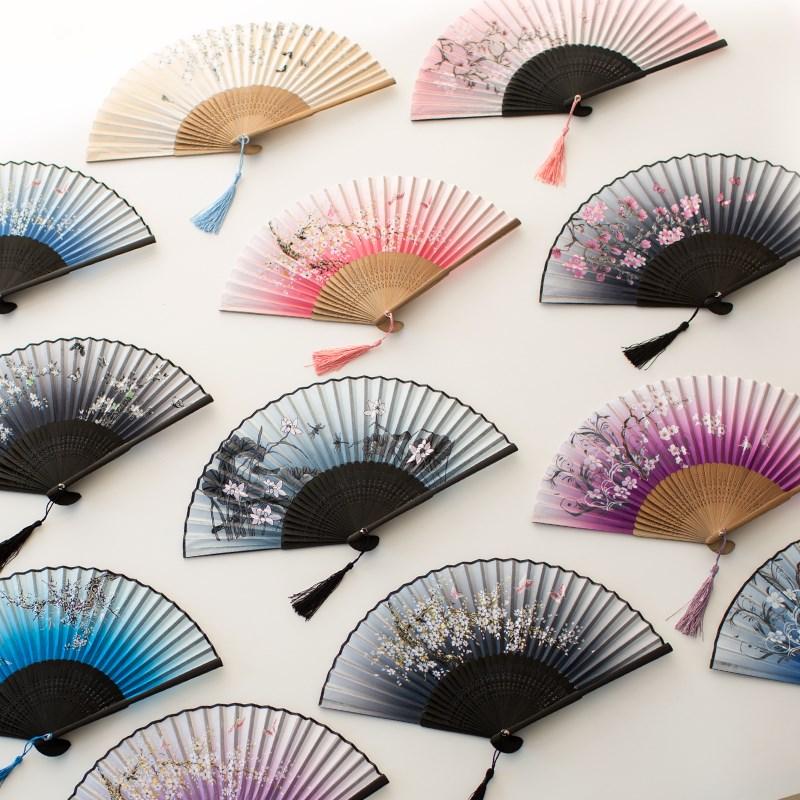 折叠黑色扇子双面舞台学生婚礼戏曲将进酒粉色便携汉服夜上海服装