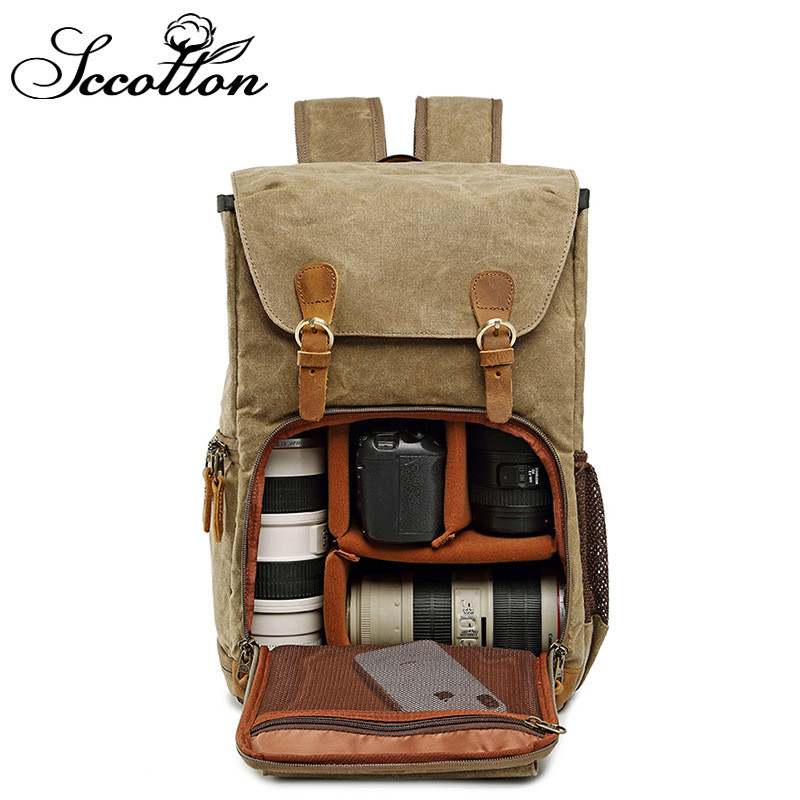 Double shoulder photo bag waterproof canvas bag mens and womens backpack liner SLR digital camera bag