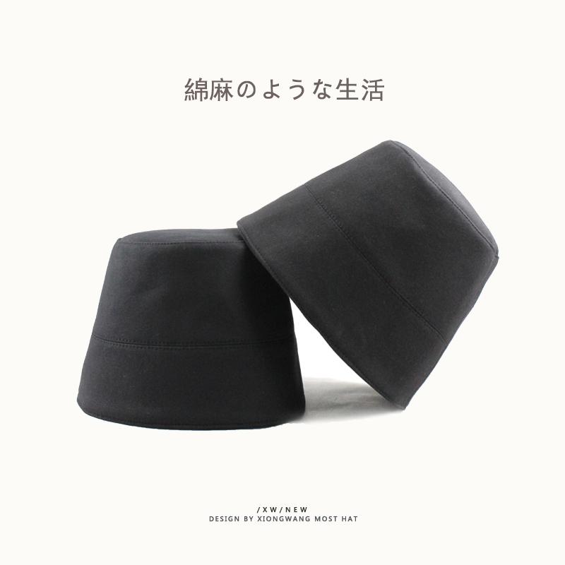 (用3元券)日本小众设计师款黑色复古水桶帽盆帽时尚街头男女棉麻渔夫帽子潮