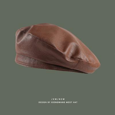 小众设计师款贝雷帽女pu皮网红ins英伦复古百搭画家帽气质皮帽子