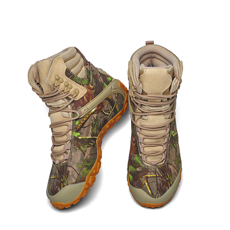 Mountaineering camouflage shoes mens high top waterproof and antiskid outdoor hiking cross country travel breathable and portable desert boots men