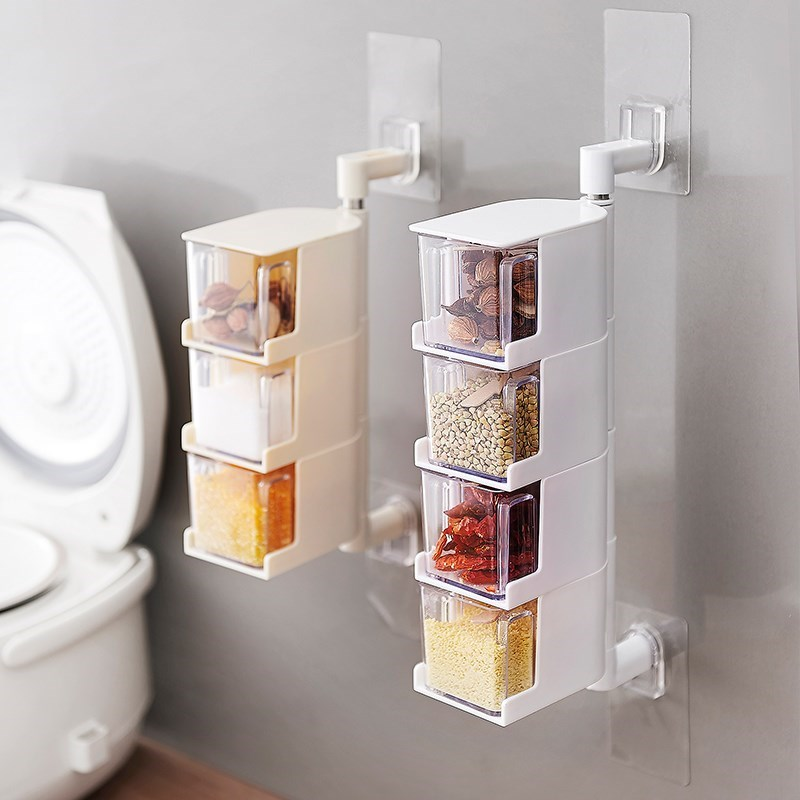 Condiment box conditioning province space household kitchen supplies suction cup vertical rotatable seasoning box wall hanging