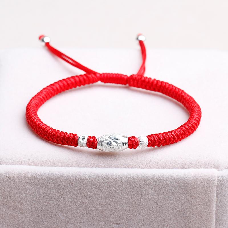 纯银转运珠手链女手工编织本命年红绳男手绳简约情侣手串平安饰品