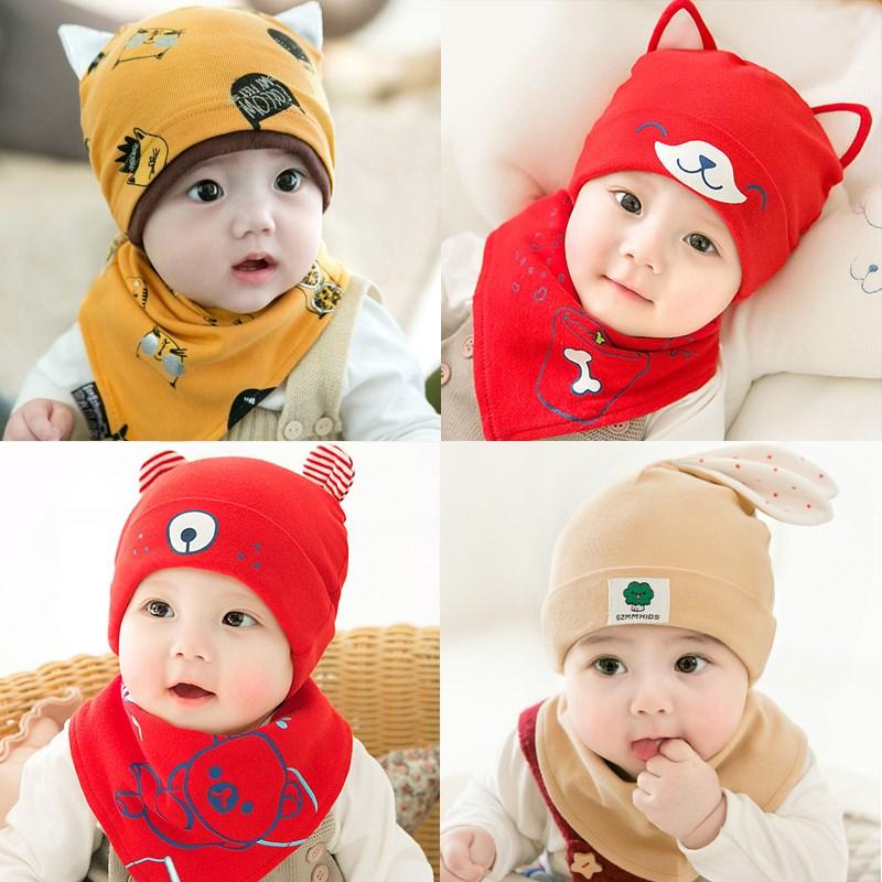 新生婴儿纯棉帽子春秋冬0-3个月宝宝6儿童套头胎帽1岁2男童薄款潮