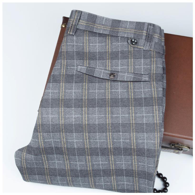 Qingxu mens casual pants spring and summer thin SLIM STRAIGHT pants Korean fashion mens pants elastic plaid pants
