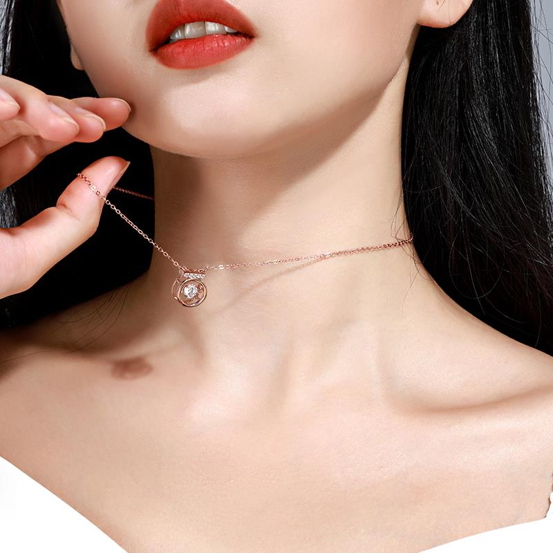 Authentic beating heart necklace womens 925 pure silver clavicle chain tide net Red Angel gold minority design feeling simple