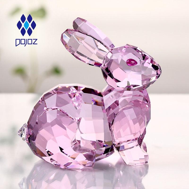生日礼物女创意儿童可爱十二生肖情人节工艺装饰品水晶小兔子摆件