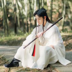 君陈原创传统明制道袍飘逸舒适杏白色天丝亚麻男装汉服-长啸