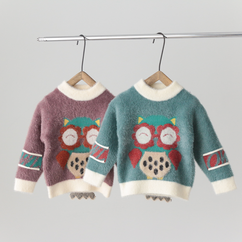 Boys Pullover middle school children 1-3 years old 5 foreign mink velvet childrens spring and autumn wear girls T-shirt