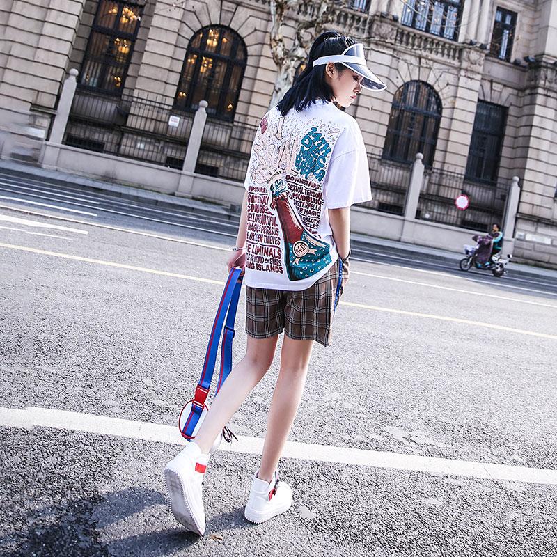 套装女2020新款短袖格子印花嘻哈休闲运动风bf时尚学生宽松两件套