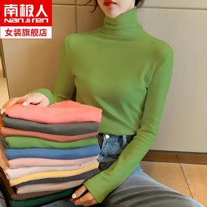 纯棉长袖t恤女装2020年春季上衣堆堆领半高领打底衫内搭紧身秋冬