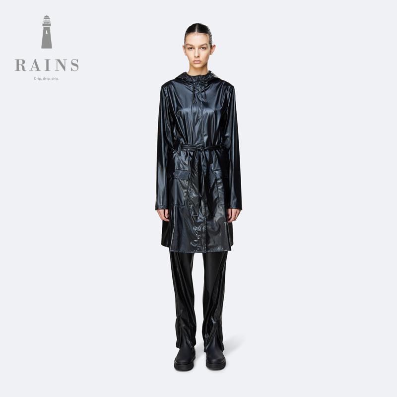 Rains Curve Jacket 时尚简约防水休闲风衣女士中长款雨衣外套