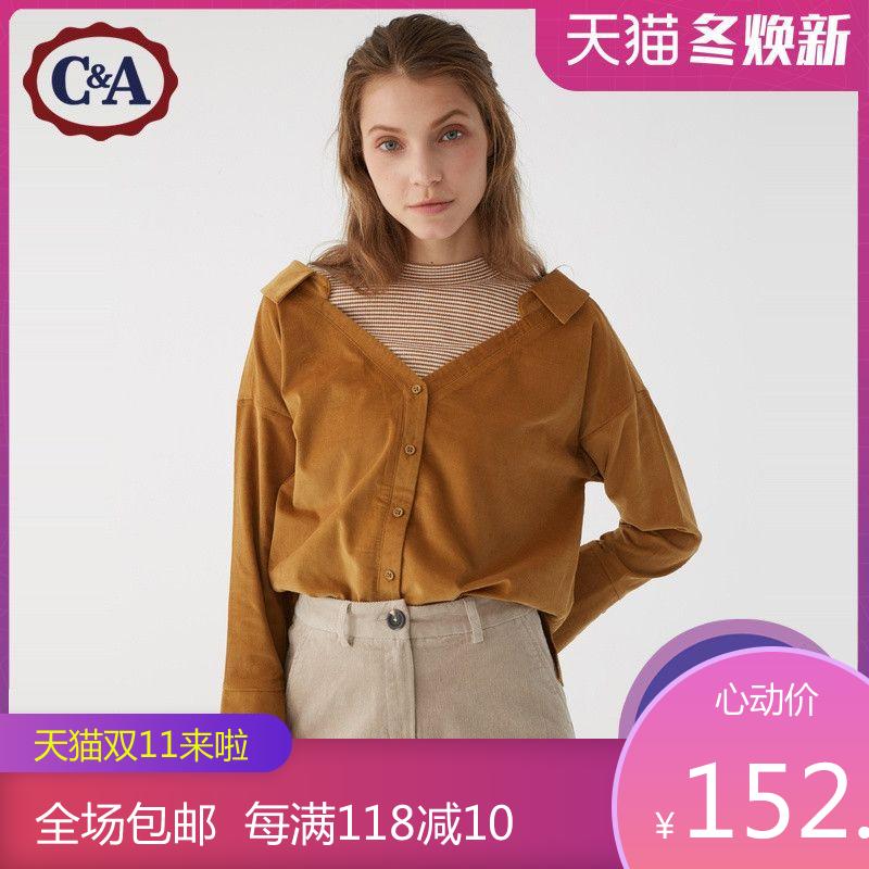C&A拼接撞色假两件女2019秋冬款法兰绒格子长袖衬衫CA200221831-1