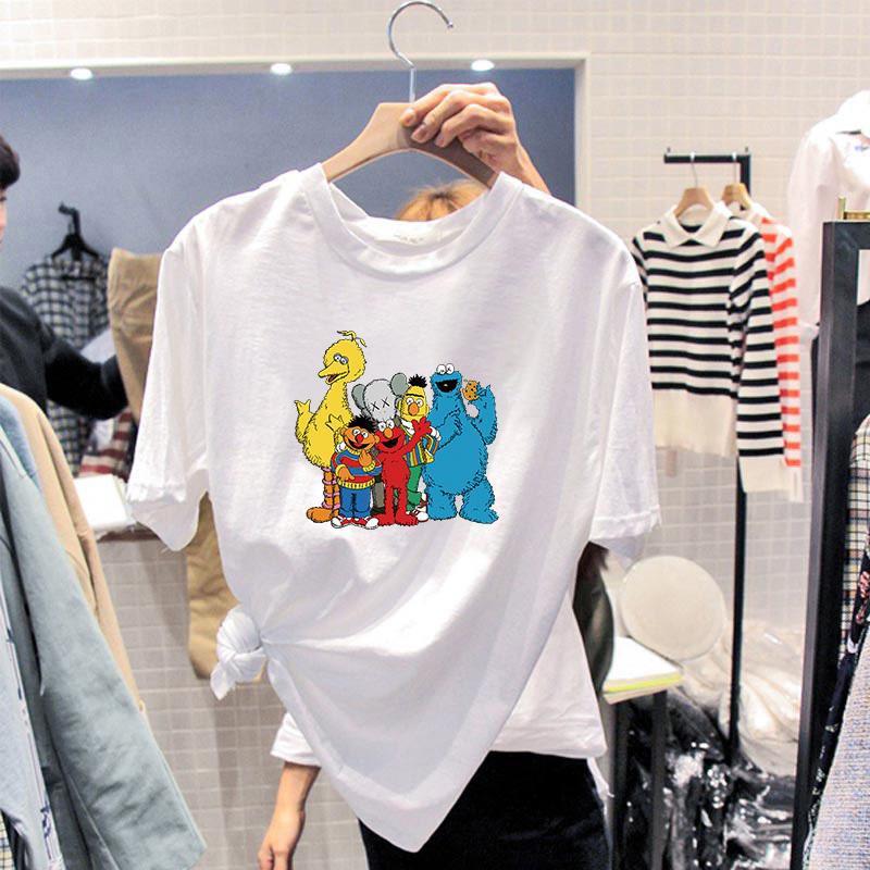 芝麻街联名t恤女短袖韩版宽松纯棉白色半袖学生ins潮情侣夏装体恤图片