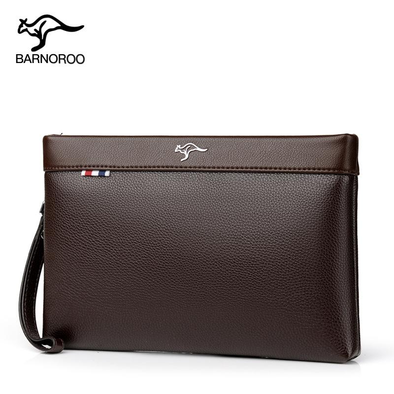 巴诺袋鼠男士真皮手包男包大容量手拿钱包信封包柔软牛皮休闲夹包