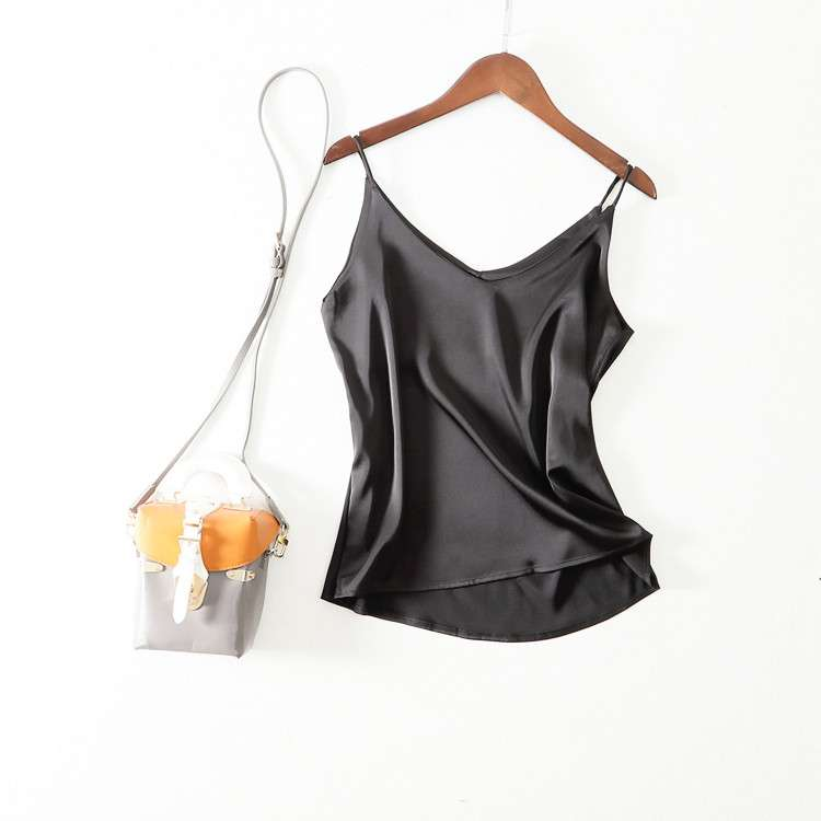 2020 womens summer silk satin double bottom top black and white solid top V-neck short suspender vest