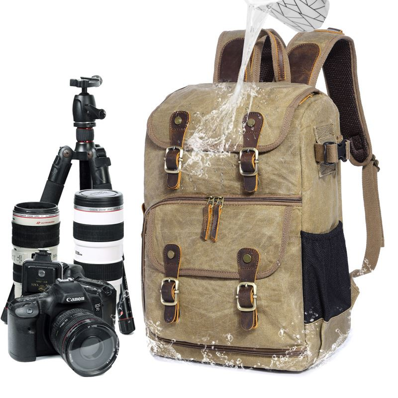 Popular new camera bag Camera SLR backpack waterproof large capacity wax dyed Canvas Backpack hot