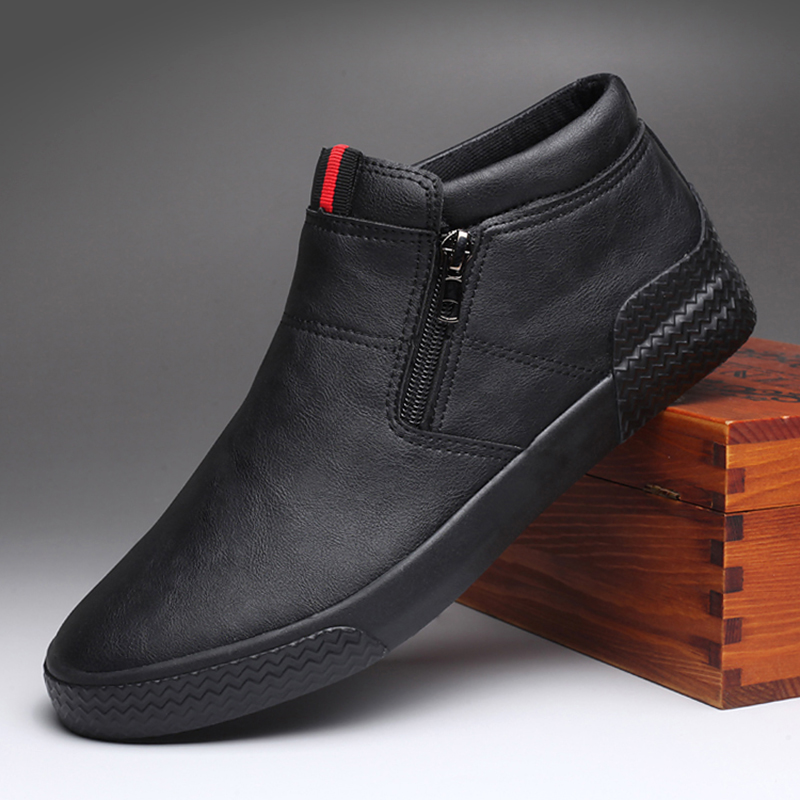Mens shoes autumn and winter fashion shoes mens high top casual shoes mens leather shoes British and Korean fashion board shoes mens Martin Short Boots
