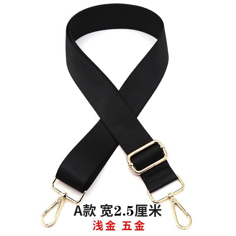 Color nylon cross strap 2.5-3.8cm wide mens and womens bags custom metal dog buckle hardware chain package