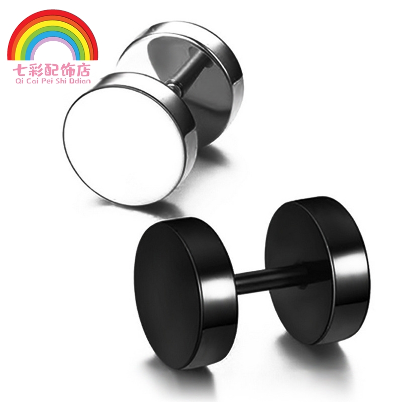 Stud, male, titanium steel, Korean style, single, Korean personality, fashionable, male student, creative, black buckle, female and male Earrings