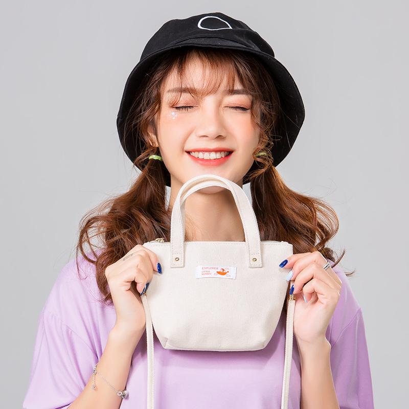 迷你小包包女斜挎手拎帆布包小方包手拿手机零钱包拎包帆布手提袋